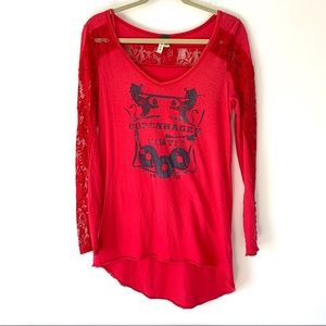 We the Free Copenhagen Red Lace Long sleeve top